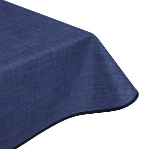 Natural Navy Teflon Coated Tablecloth