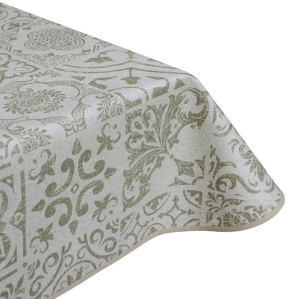 Medina Olive Teflon Coated Tablecloth