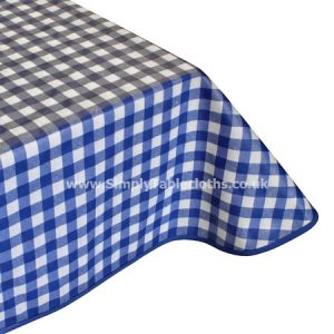 Large Gingham Blue Teflon Coated Tablecloth