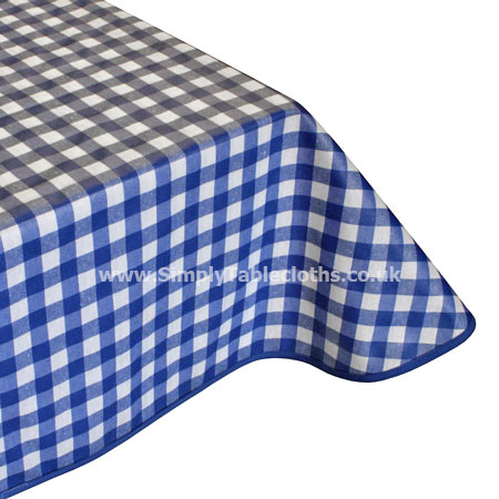 Large Blue Gingham Teflon Tablecloth