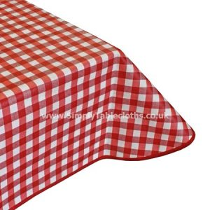 Large Gingham Red Teflon Coated Tablecloth