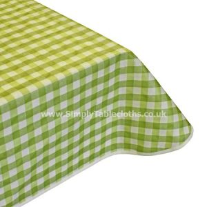 Large Gingham Green Teflon Coated Tablecloth