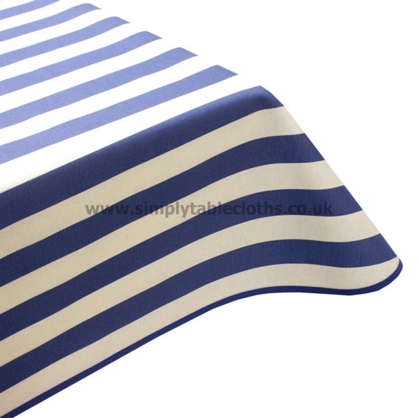 Blue Stripe Teflon Coated Tablecloth