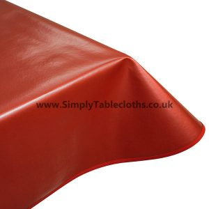 Metallic Plain Red Vinyl Tablecloth