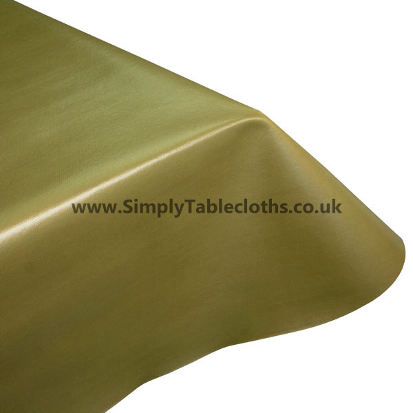 Metallic Plain Gold Vinyl Tablecloth