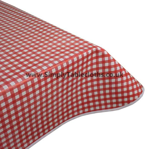 Red Gingham Vinyl Tablecloth