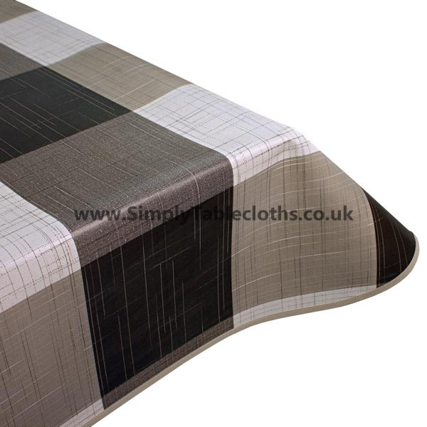 Natural Linen Check Vinyl Tablecloth