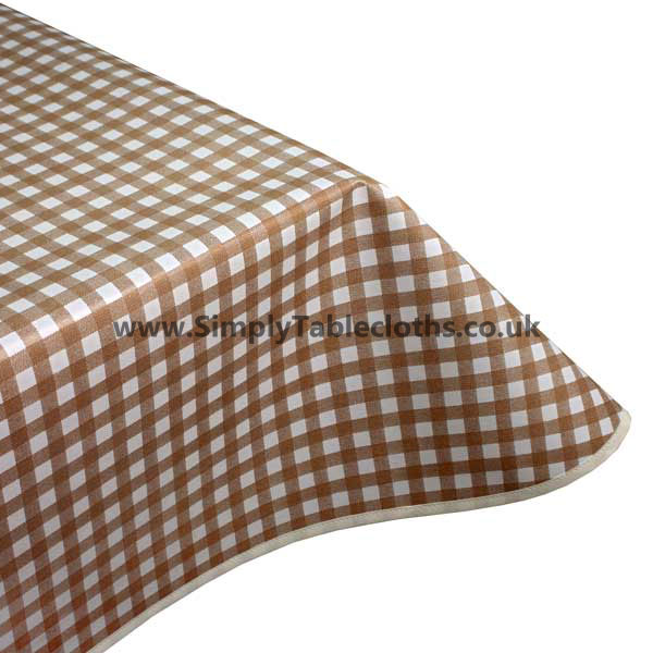 Brown Gingham Vinyl Tablecloth