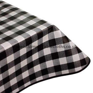 Black Gingham Vinyl Tablecloth