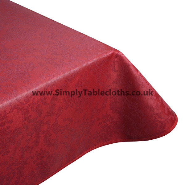 Damask Bordeaux Teflon Coated Tablecloth
