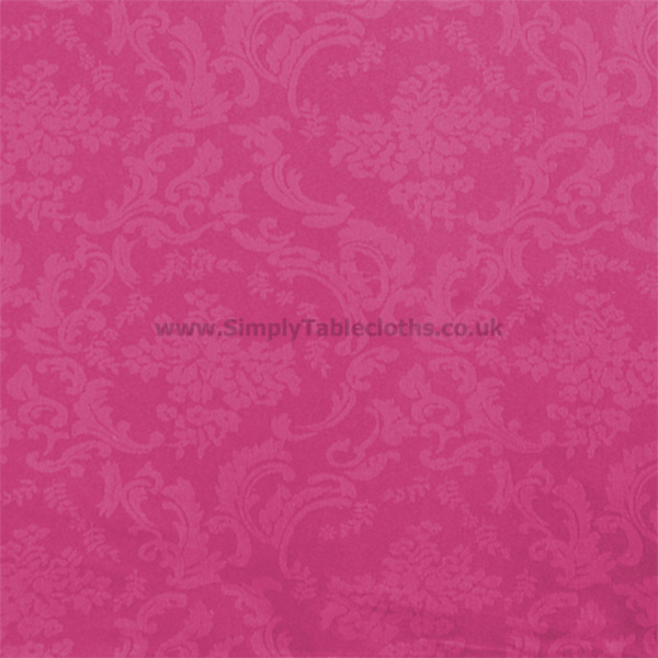 Damask Fuchsia Teflon Coated Tablecloth