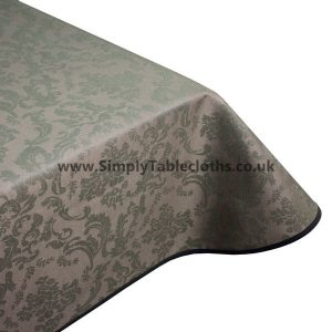 Damask Taupe Teflon Coated Tablecloth