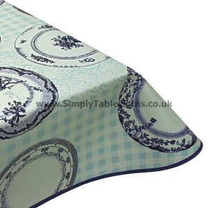 Vintage Plates Blue Vinyl Tablecloth