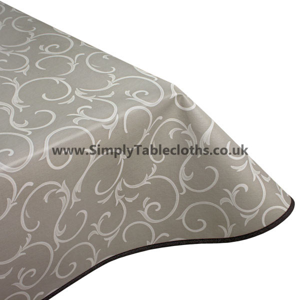 Grey Scroll Vinyl Tablecloth