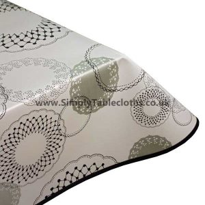 White Illusion Vinyl Tablecloth