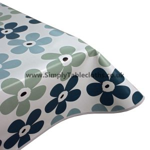 Blue Flower Vinyl Tablecloth