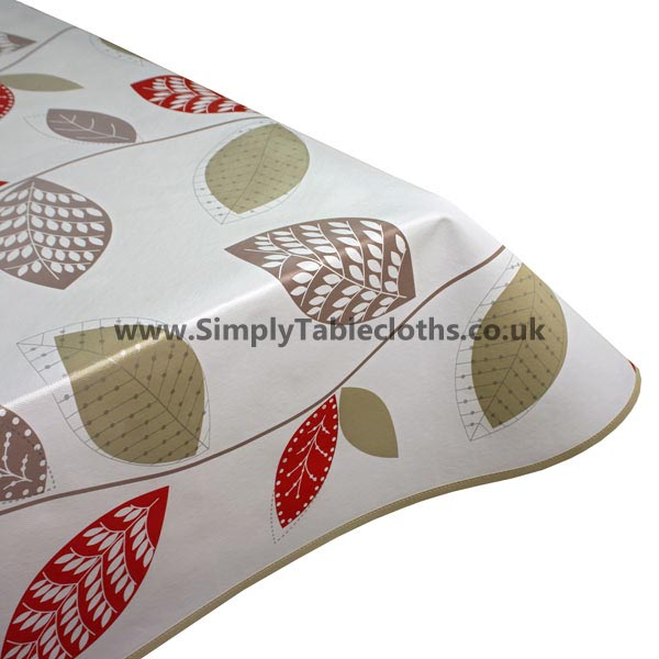 Red Leaf Vinyl Tablecloth