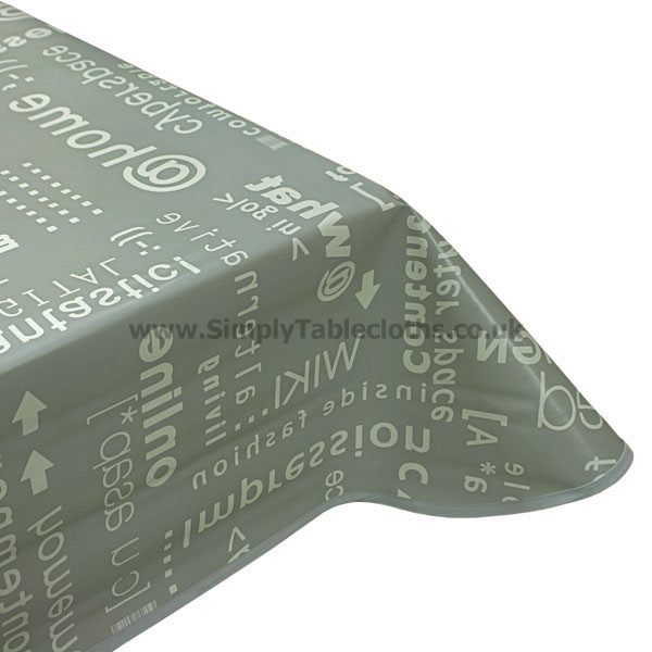 Grey Web Code Vinyl Tablecloth