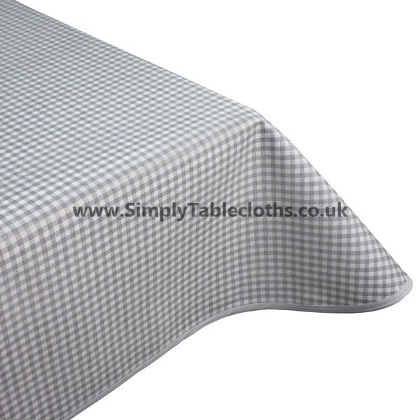 Gingham Grey Teflon Coated Tablecloth