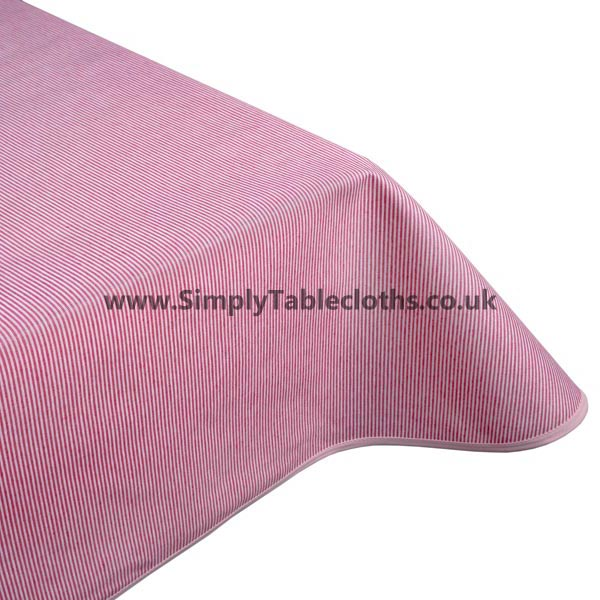 Lines Red Teflon Coated Tablecloth