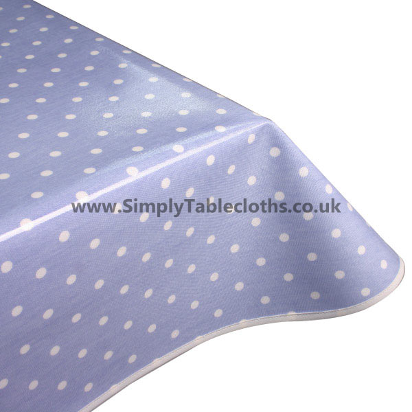 Polka Dot Powder Blue Oilcloth Tablecloth
