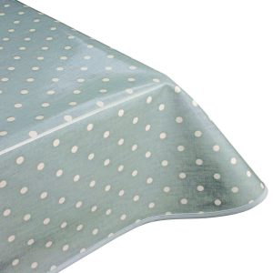 Polka Dot Azure Matt Oilcloth Tablecloth