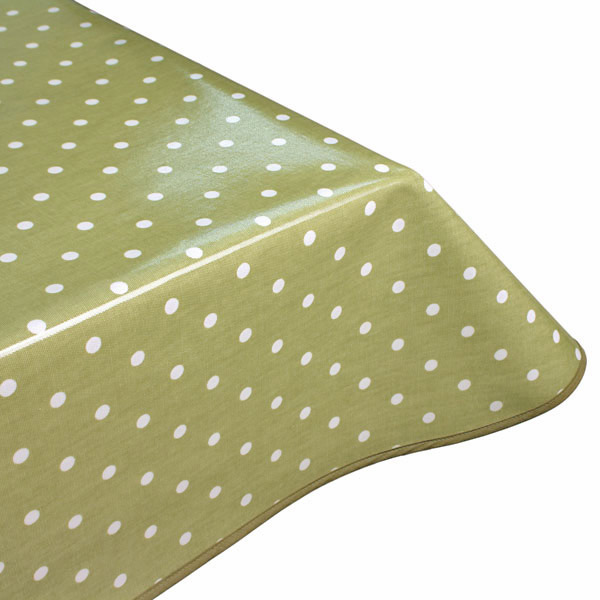 green polka dot oilcloth tablecloth