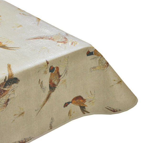 Pheasant Natural Oilcloth Tablecloth