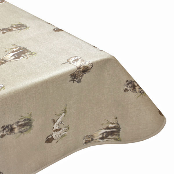 Pooch Dogs Natural Oilcloth Tablecloth