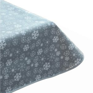 Snowy Grey Oilcloth Tablecloth