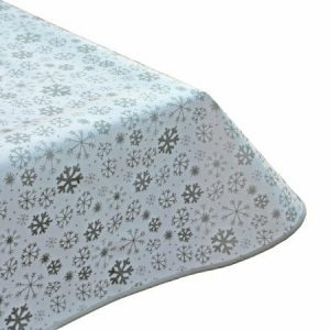 Snowy Silver Oilcloth Tablecloth