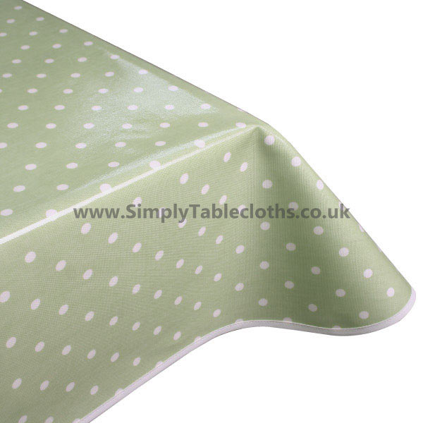 Polka Dot Light Sage Matt Oilcloth Tablecloth
