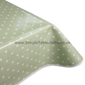 Polka Dot Light Sage Oilcloth Tablecloth
