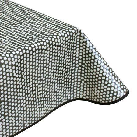 Spotty black oilcloth tablecloth