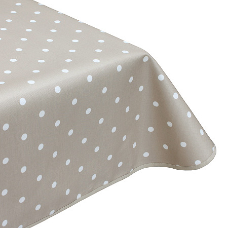 Polka Dot Taupe Oilcloth Tablecloth