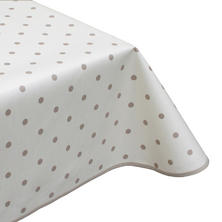 Polka Dot Cream Oilcloth Tablecloth