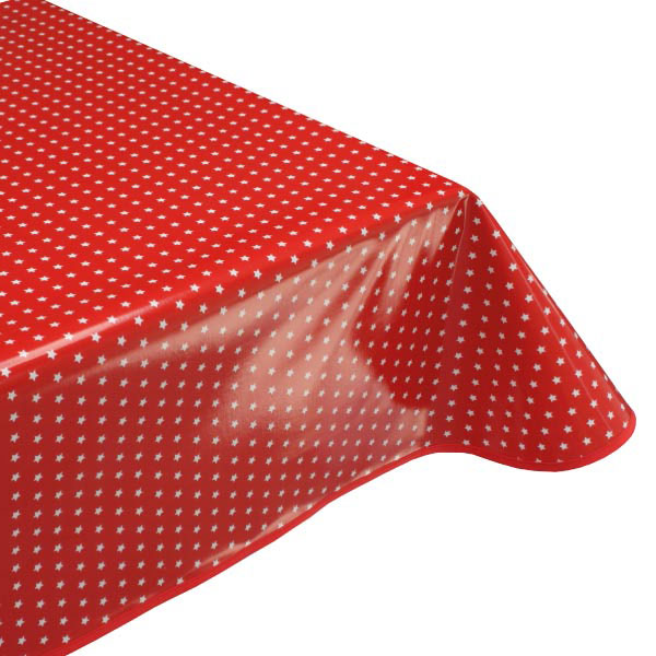 Twinkle Red stars oilcloth tablecloth
