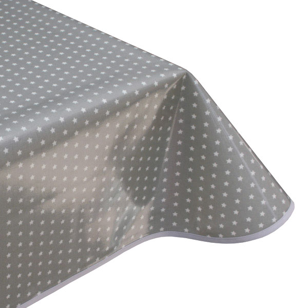 Twinkle Stars Grey oilcloth tablecloth
