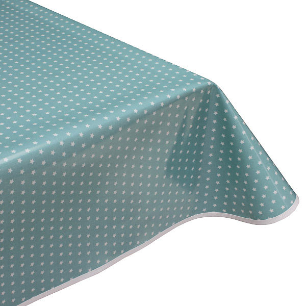 Twinkle teal oilcloth tablecloth