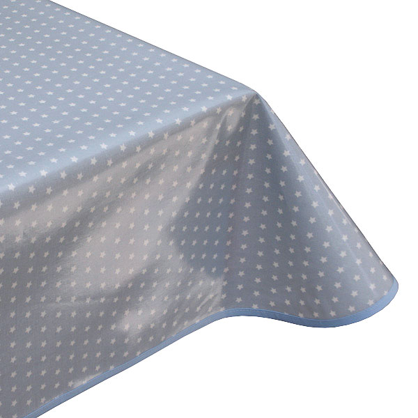 Twinkle Stars Powder Blue Oilcloth Tablecloth