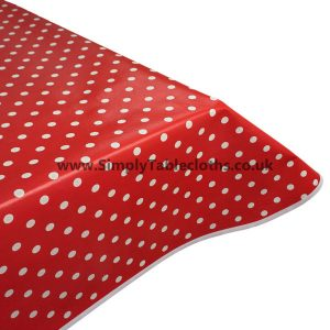 Red Polka Dot Vinyl Tablecloth