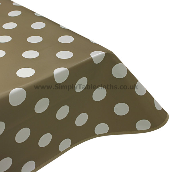 Big Spot Taupe Vinyl Tablecloth