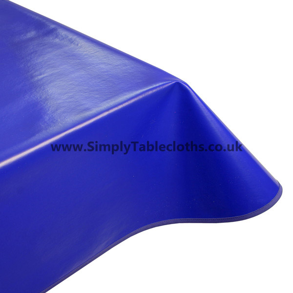Plain Blue Vinyl Tablecloth