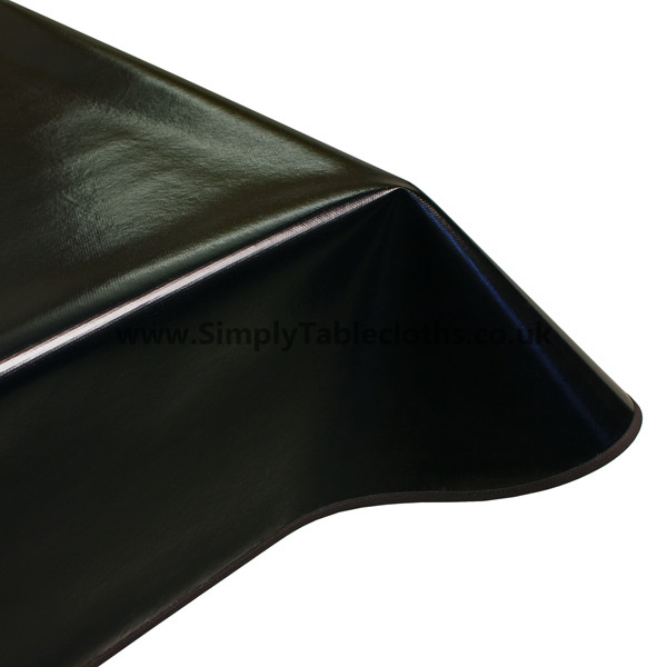 Plain Black Vinyl Tablecloth