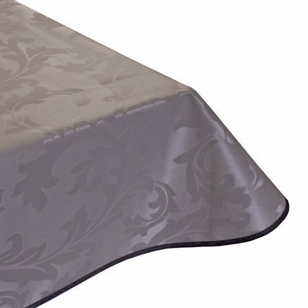 Leaf Taupe Vinyl Tablecloth