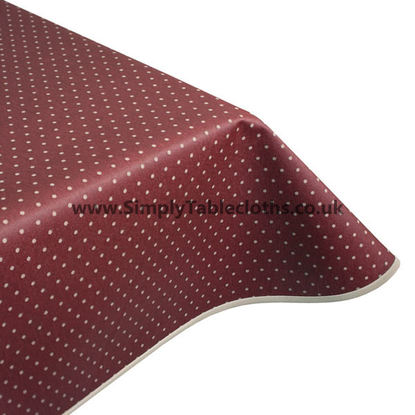 Polka Claret Teflon Coated Tablecloth