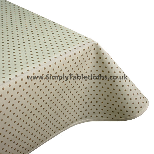 Polka Cream Teflon Coated Tablecloth
