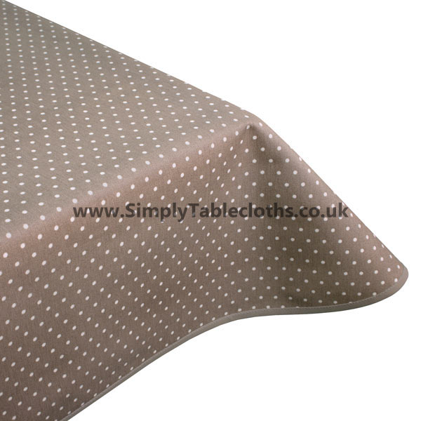 Polka Taupe Teflon Coated Tablecloth