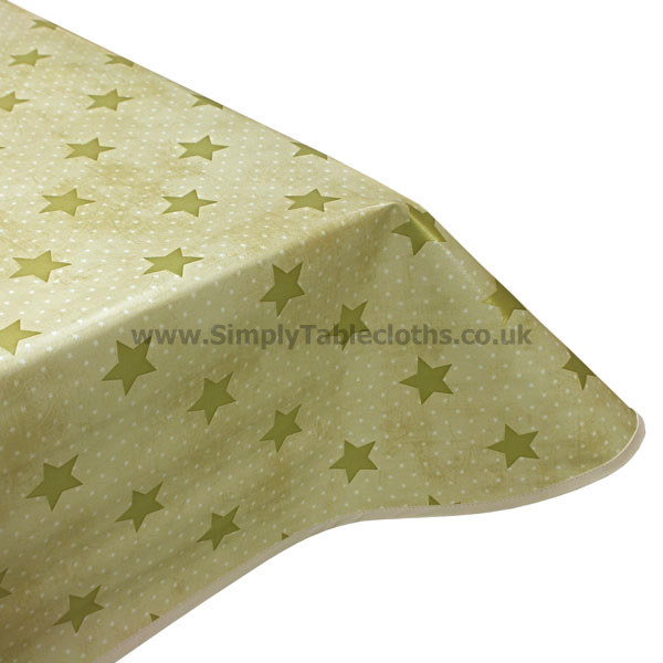 Champagne Cream Stars Vinyl Tablecloth
