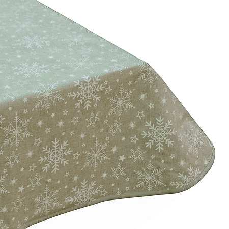 Snowflakes Natural Teflon Tablecloth